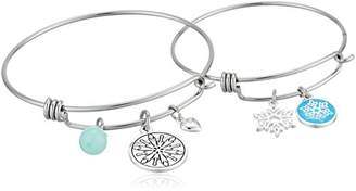 Disney Mommy & Me Stainless Steel Catch Jewelry Sets Featuring Frozen Snowflake Charms Bangle Bracelet