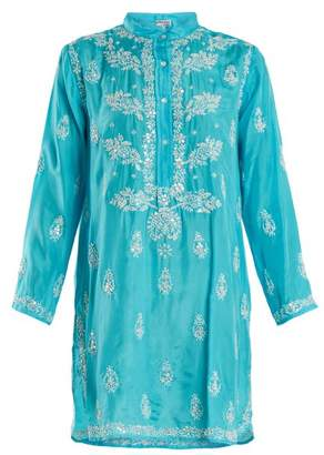 Juliet Dunn Floral Embroidered Silk Shirtdress - Womens - Blue