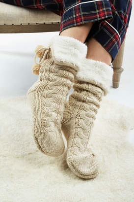 Look By M Cable knit slipper socks