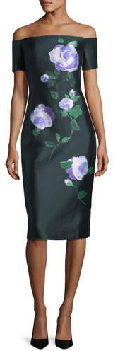 Lela Rose Floral Off-Shoulder Dress