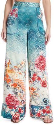 Camilla Cuffed Floral-Print Silk Lounge Pants