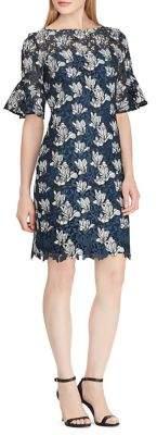 Lauren Ralph Lauren Ruffled-Cuff Lace Sheath Dress