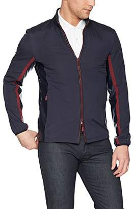 Armani Exchange A|X Men's Casual Jacket with Leather Collar and Red Zipper