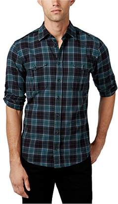 HUGO BOSS BOSS Orange Men's Caedttoe Plaid Flannel Roll Sleeve Button Down Shirt