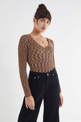 Urban Outfitters Lara Ribbed Knit V-Neck Sweater