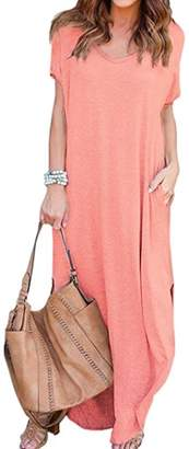 WO-STAR Women's Solid V-Neck Pocket Loose Maxi Dress