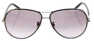 Chloé Leather-Trimmed Aviator Sunglasses