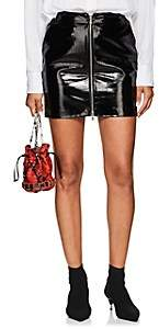 L'Agence Women's Claudia Patent Leather Zip-Front Miniskirt-Black