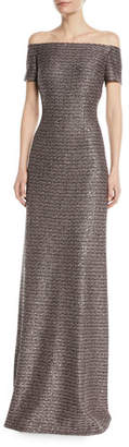 St. John Twisted Sequin Knit Off-the-Shoulder Gown