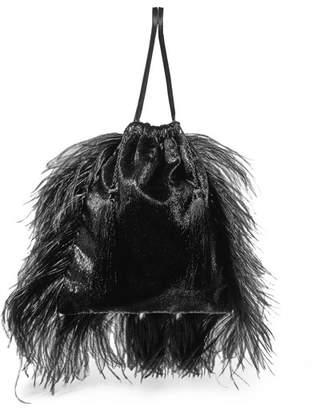ATTICO Feather-trimmed Lamé And Velvet Pouch - Black