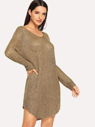 Shein Loose Knit Curved Hem Sequin Sweater Dress