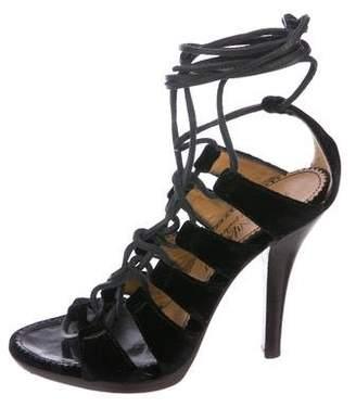 Saint Laurent Velvet Cage Sandals