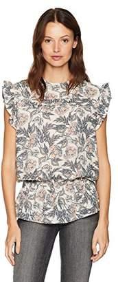 Ella Moon Women's Standard Sleeveless Ruffle Shoulder Smocked Wasit top