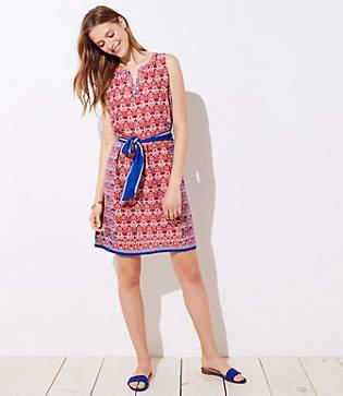 LOFT Petite Floral Mosaic Tie Waist Dress