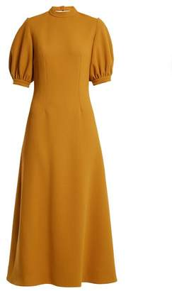 Emilia Wickstead Victoria Cut Out Back Wool Midi Dress - Womens - Dark Yellow