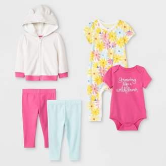Cat & Jack Baby Girls' Top & Bottom Sets Pink/White/Yellow