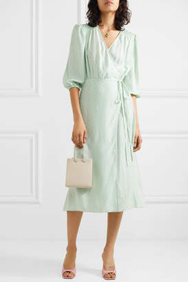 Art Dealer - Sophia Polka-dot Silk-jacquard Wrap Dress - Mint
