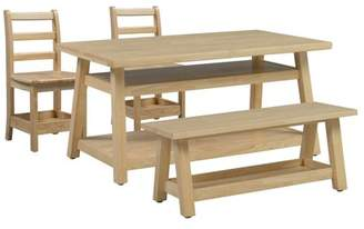 N. ECR4Kids Sit n' Stash Rectangular Table Bench and Two 14in Chairs
