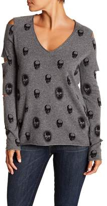 SKULL CASHMERE Janey Sleeve Cutout Skull Print Sweater