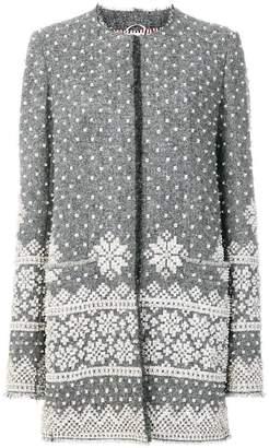 Thom Browne Fair Isle Embroidered Wool Cardigan Overcoat