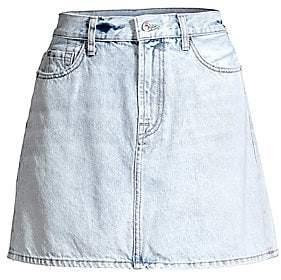 7 For All Mankind Women's Acid Wash Denim Mini Skirt