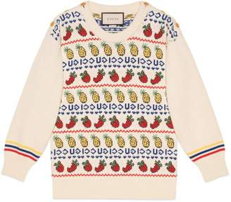 Gucci pineapple and strawberry knit top