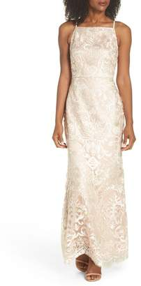 Vince Camuto Sleeveless Embroidered Gown