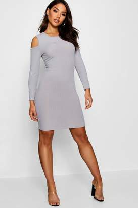 boohoo Square Cold Shoulder Ribbed Bodycon Dress