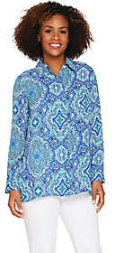 Joan Rivers Classics Collection Joan Rivers Moroccan Print Silky Blouse withLong Sleeves