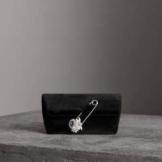 Burberry The Small Pin Clutch in Velvet, Black