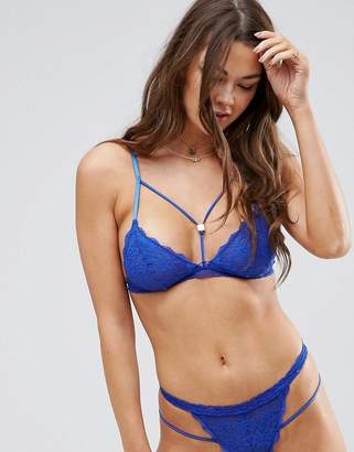 Roxy ASOS DESIGN ASOS Strappy Lace Triangle Bra with Hardware Detailing