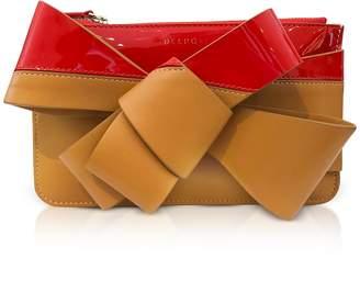DELPOZO Striped Leather Mini Bow Clutch