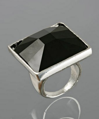 Rachel Leigh jet square 'Lux' crystal ring