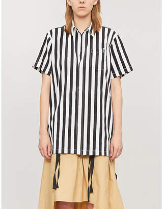 Mini Cream Striped cotton shirt
