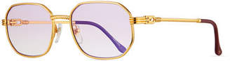 Vintage Frames Company Men's Detroit Player Gold-Plated Round Sunglasses