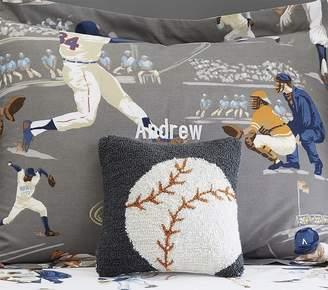 Pottery Barn Kids Hook & Loop Pillow, Baseball, Charcoal