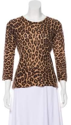 White + Warren Print Cashmere Sweater