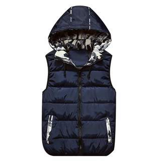 bb9cf63c74b18 Allywit Men s Winter Puffer Vest Removable Hooded Quilted Warm Sleeveless  Jacket Gilet