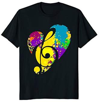 Watercolor Rainbow Love Heart Musical Note T-Shirt