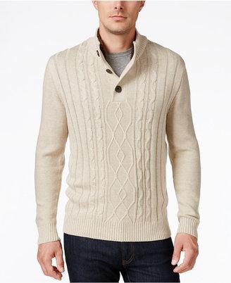 Tricots St. Raphael Men's Faux Sherpa Trim Cable-Knit Mock Neck Sweater $75 thestylecure.com