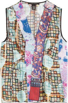Marc Jacobs Printed Silk Sleeveless Blouse with Tulle