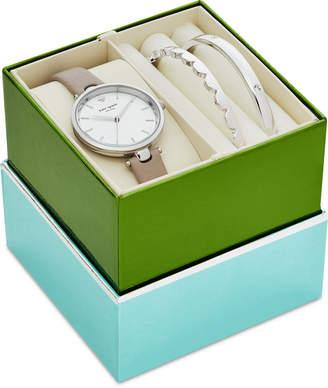Kate Spade Women's Holland Gray Leather Strap 34mm Watch & Bangle Bracelets Box Gift Set