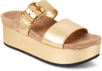Prada Gold Double Strap Platform Slide Sandals