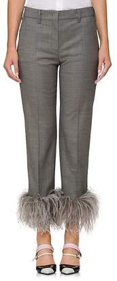 Prada Women's Feather-Embellished Wool-Blend Crop Trousers