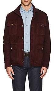 Isaia Men's Water-Repellent Suede Field Jacket - Wine