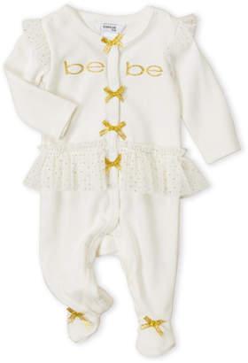 Baby Essentials Bebe Baby (Newborn Girls) Ivory Ruffle Mesh Trim Footie