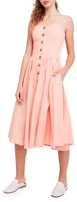 Free People Perfect Peach Cotton Poplin Midi Dress