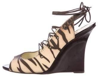 Manolo Blahnik Slingback Lace-Up Wedges