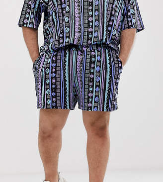 Asos Design DESIGN Plus festival two-piece shorts with geo-tribal print