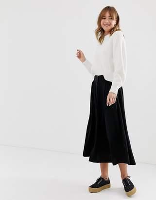 Monki buttoned midi skirt in black